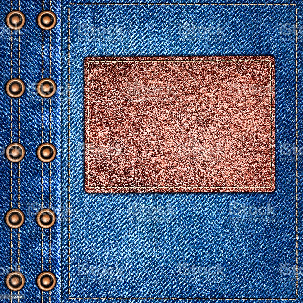 background simple denim with leather label close-up stock photo