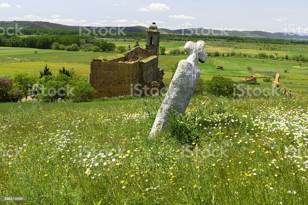 Background spring landscape ruined convent stock photo