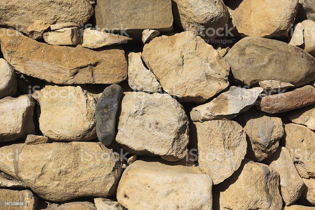 Background - Stacked Stone Wall. Full Frame, Horizonta stock photo