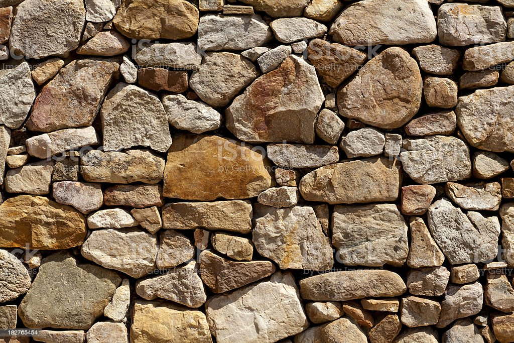 Background - Stacked Stone Wall. Full Frame, Horizontal. stock photo