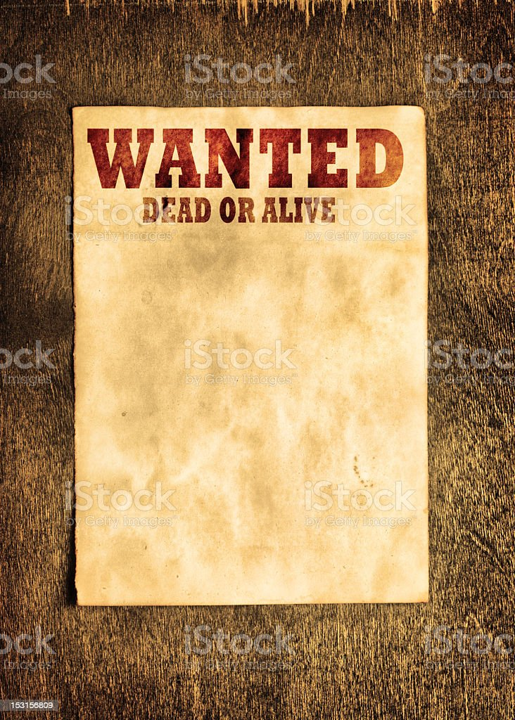 Background template featuring a wanted poster stock photo