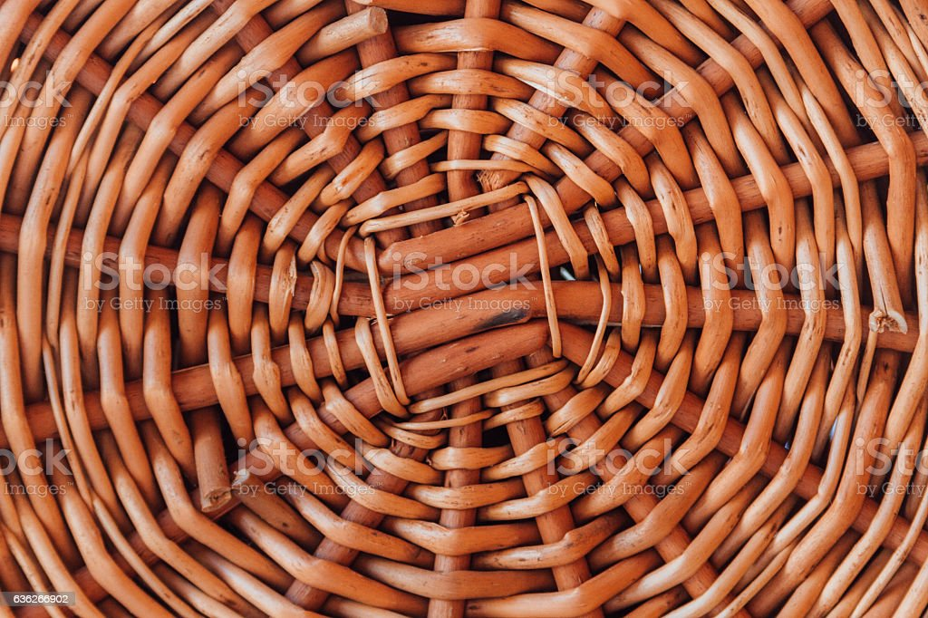 Background texture of a wicker woven basket stock photo