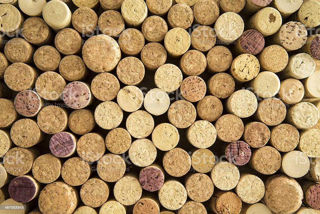Background texture of neatly arranged corks stock photo