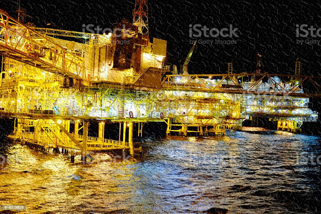 Background texture of oil and gas central process platform stock photo