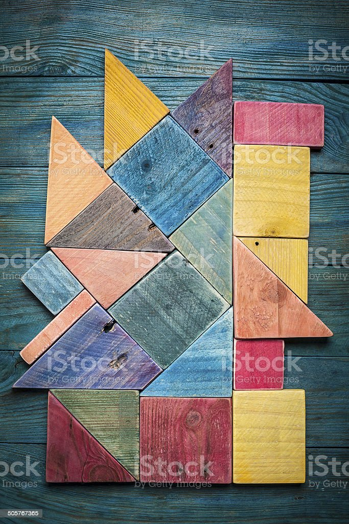 background texture of painted wood pieces stock photo