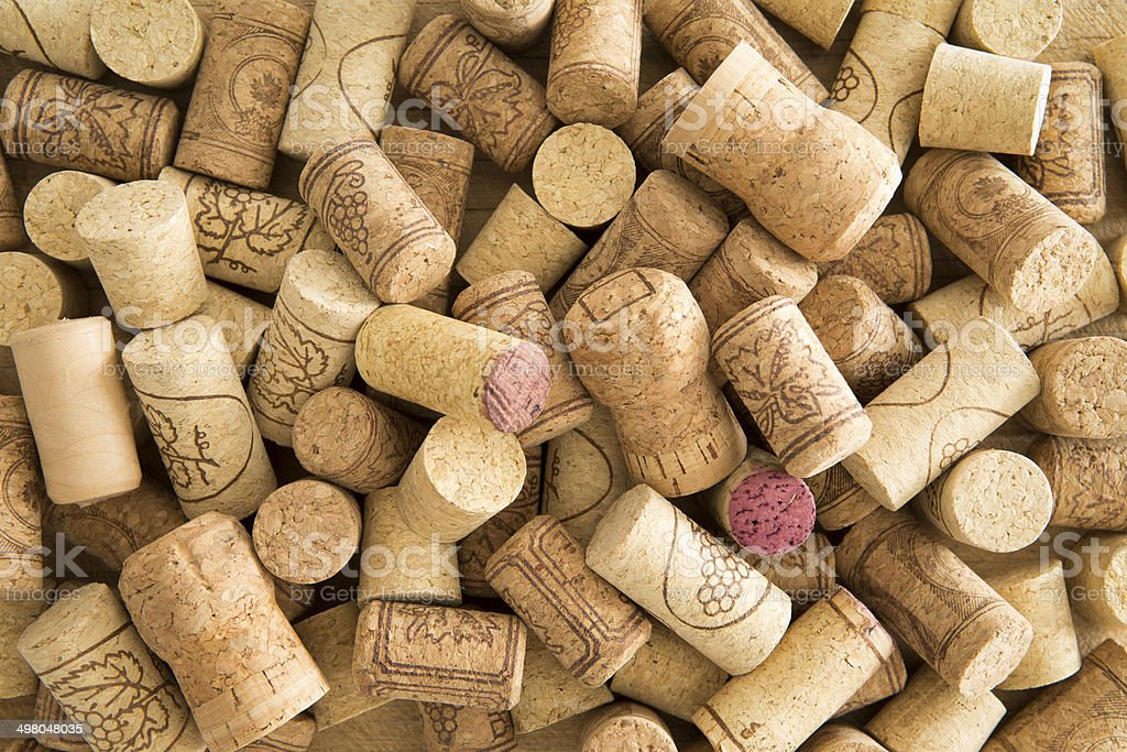 Background texture of used wine corks stock photo