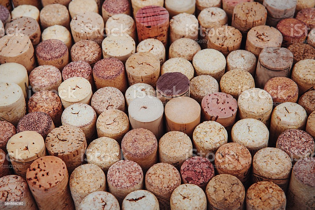 background texture with different wine corks stock photo