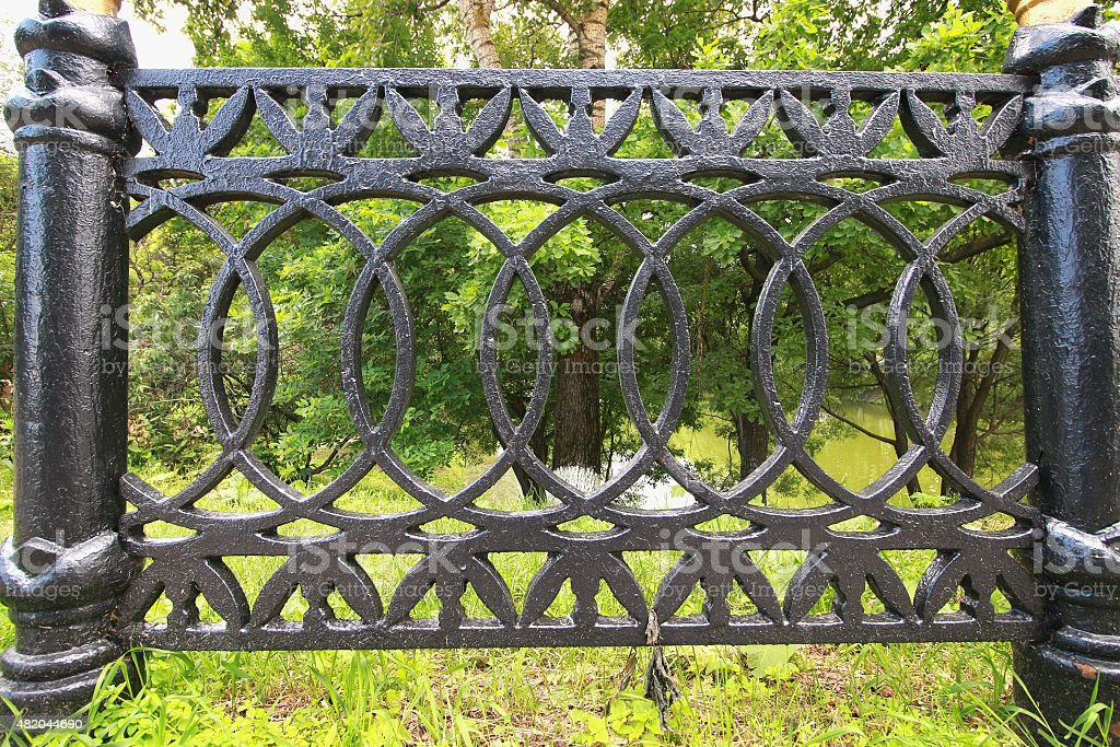 background texture wrought fence stock photo