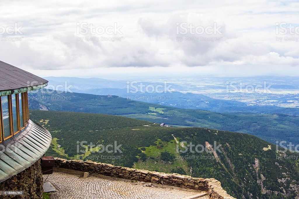 background top of Snezka mountain, Czech Republic stock photo
