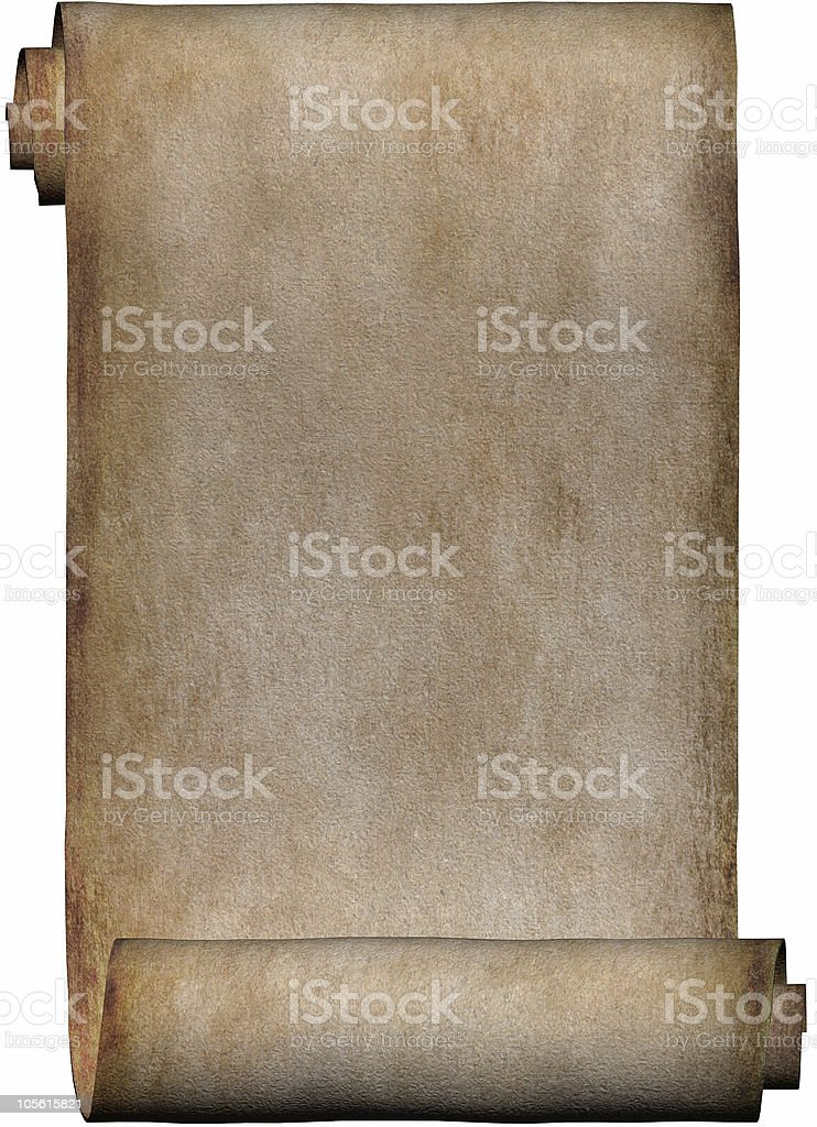 Background vertical manuscript, roll of parchment paper stock photo
