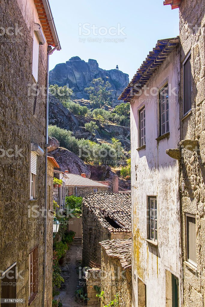 background view street in the Monsanto village, Portugal stock photo