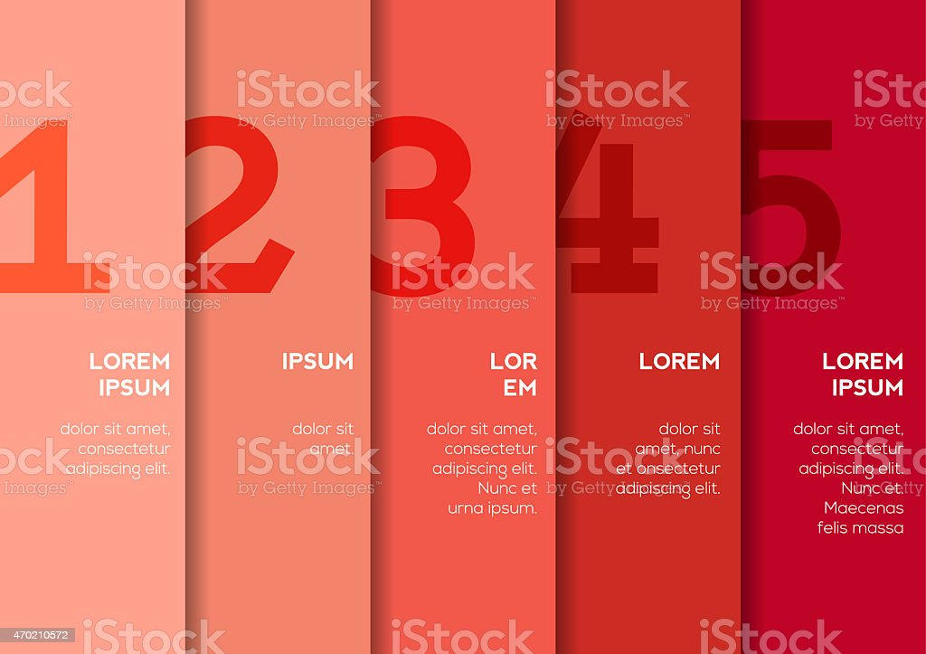 Background with 5 vertical stripes with numbers stock photo