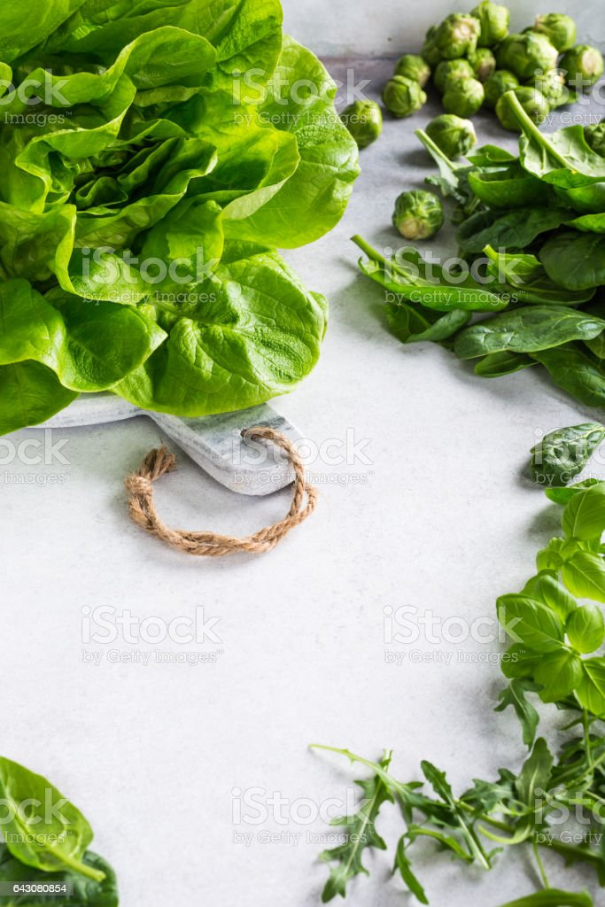 Background with assorted green vegetables stock photo