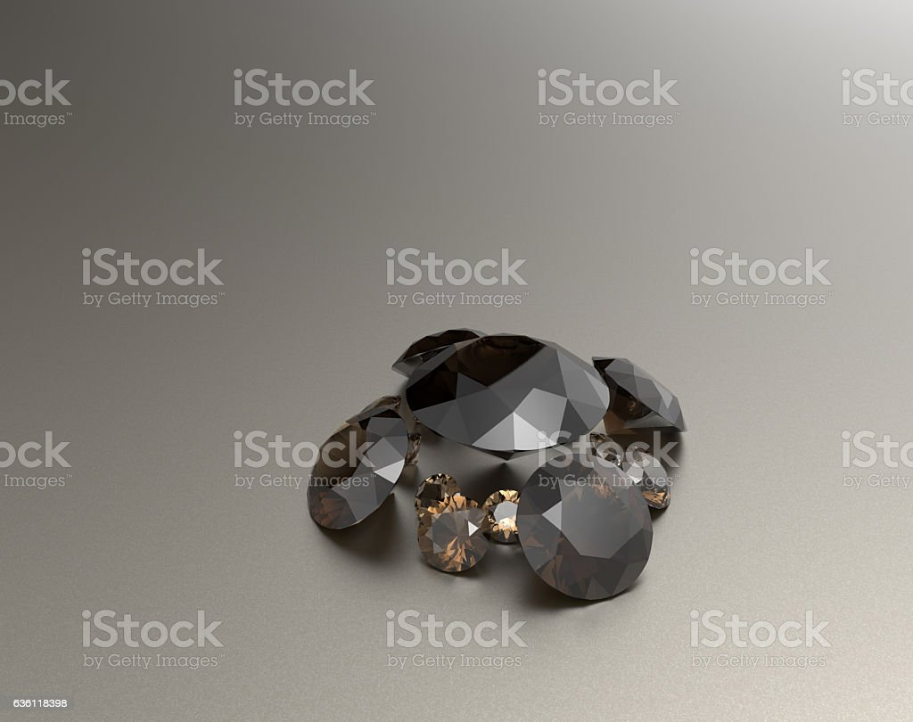 Background with brown gemstones. 3D illustration stock photo