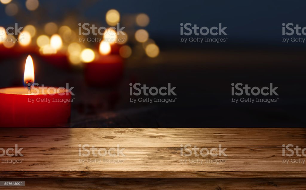 Background with burning candles stock photo