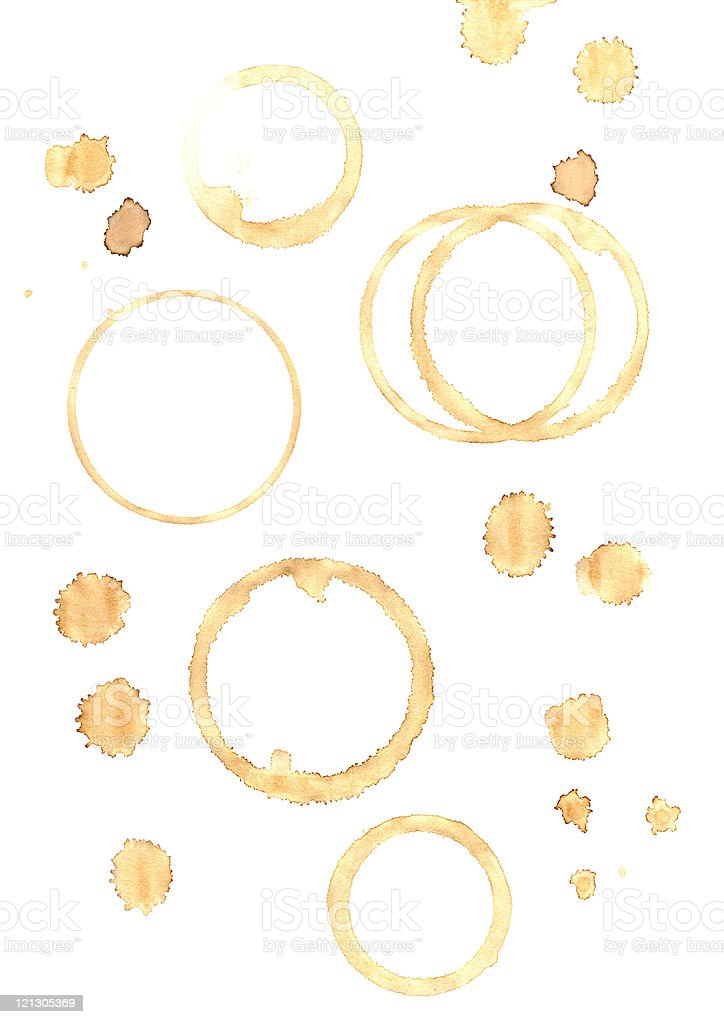 Background with coffee stain rings and drips stock photo