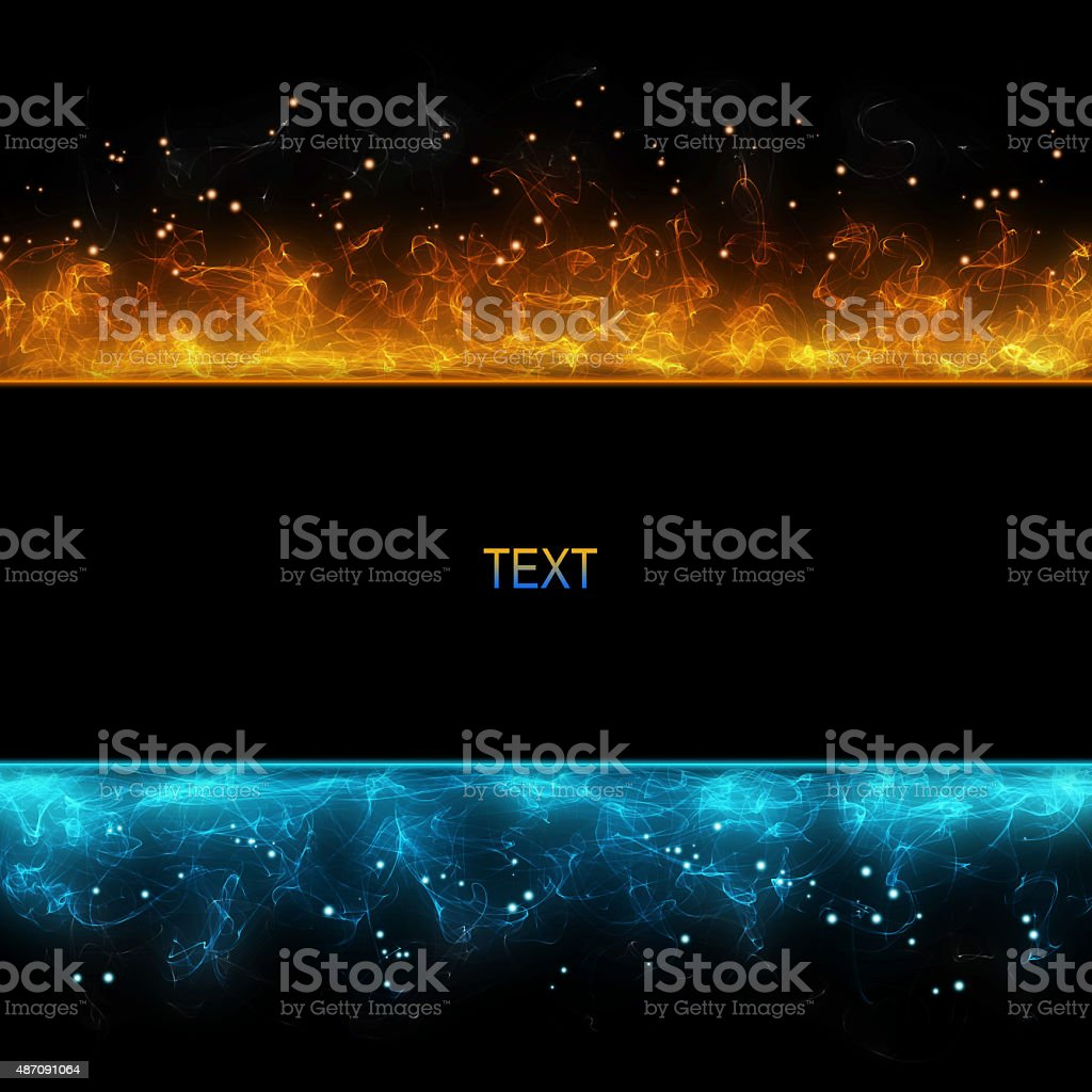 background with cold and hot fire stock photo