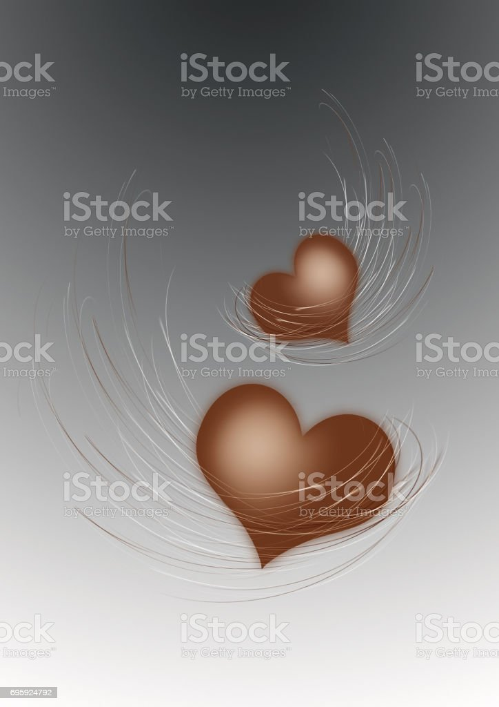 Background with decorative decorating from two hearts with wings stock photo