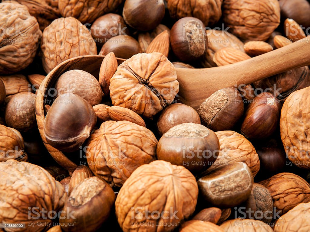Background with different kinds of nuts walnuts kernels ,macadam stock photo