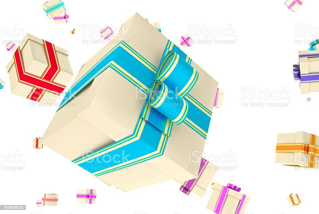 background with falling presents stock photo