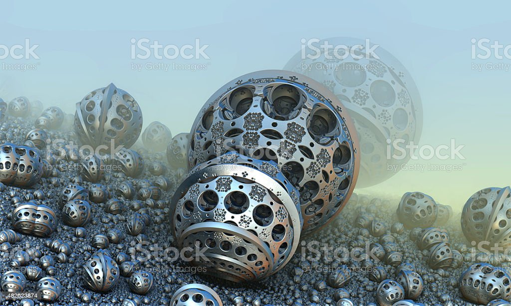 Background with fantastic 3D spheres stock photo