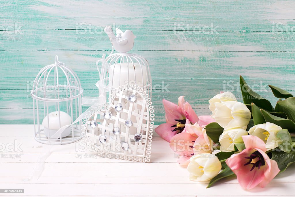 Background with flowers, heart and candles stock photo