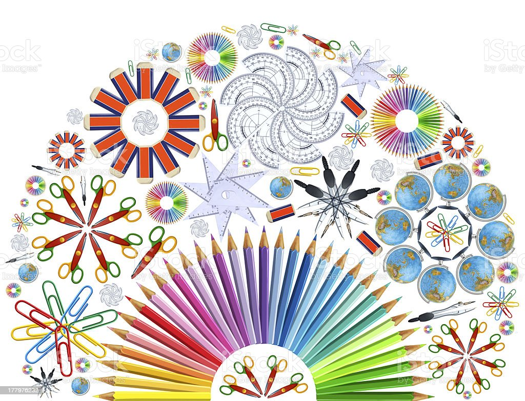 Background with kaleidoscope of school supplies royalty-free stock photo