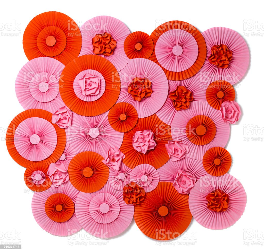 Background with lots of pleated circles rosettes stock photo