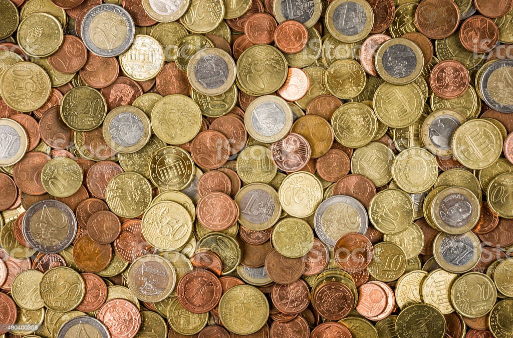 Background with many euro coins stock photo