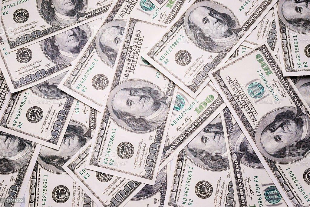 Background with money american 100 dollar bills stock photo