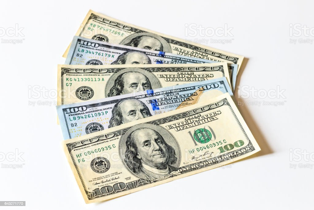 Background with money american dollar bills. Cash. stock photo
