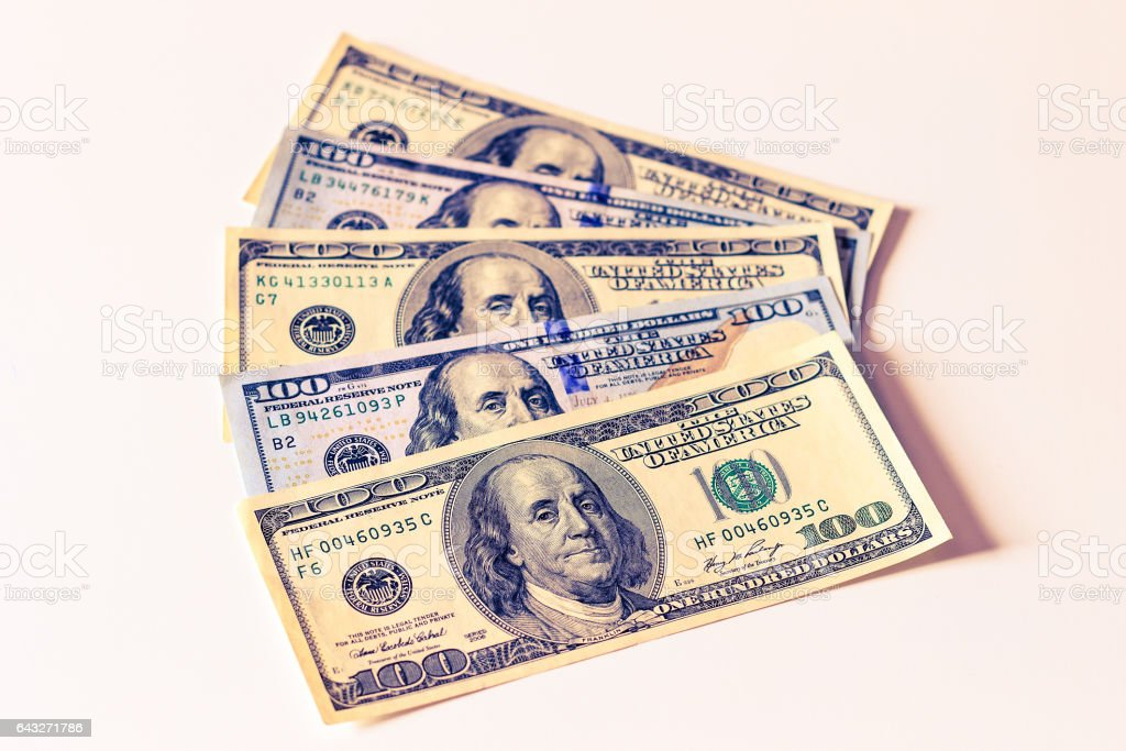 Background with money american dollar bills. Cash. stock photo