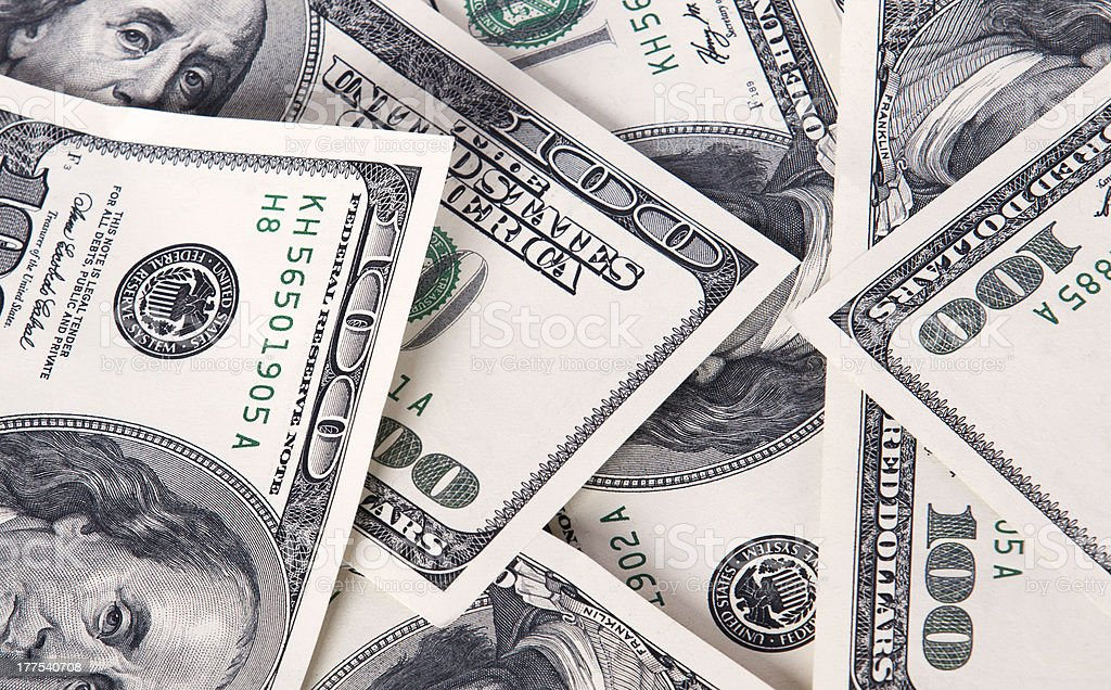 Background with money american hundred dollar bills royalty-free stock photo