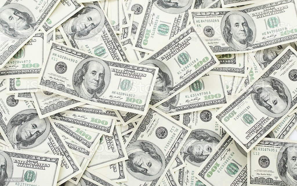 Background with money american hundred dollar bills stock photo