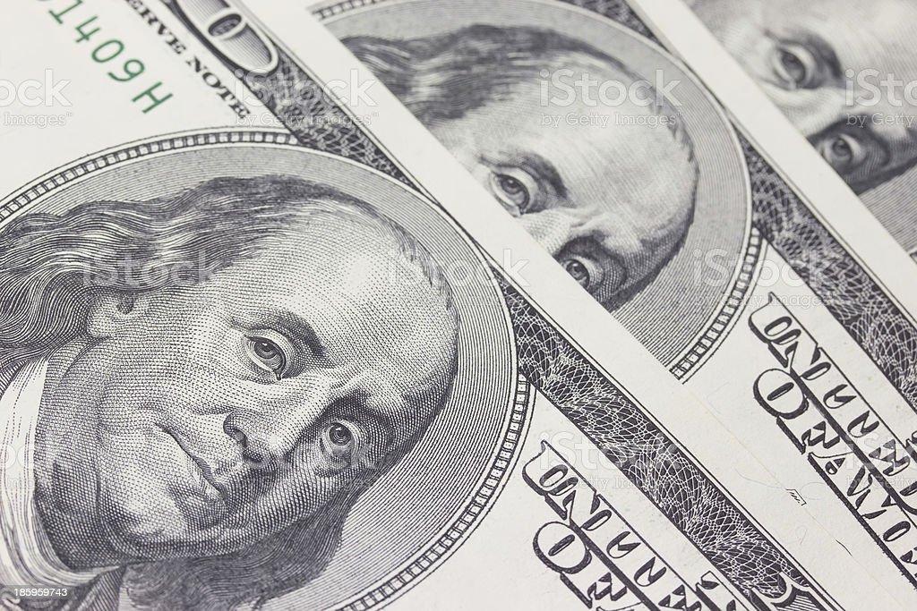 Background with money US dollar bills (100$) royalty-free stock photo