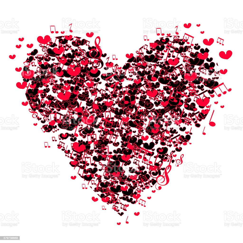 background with music notes and a shape of a heart. stock photo