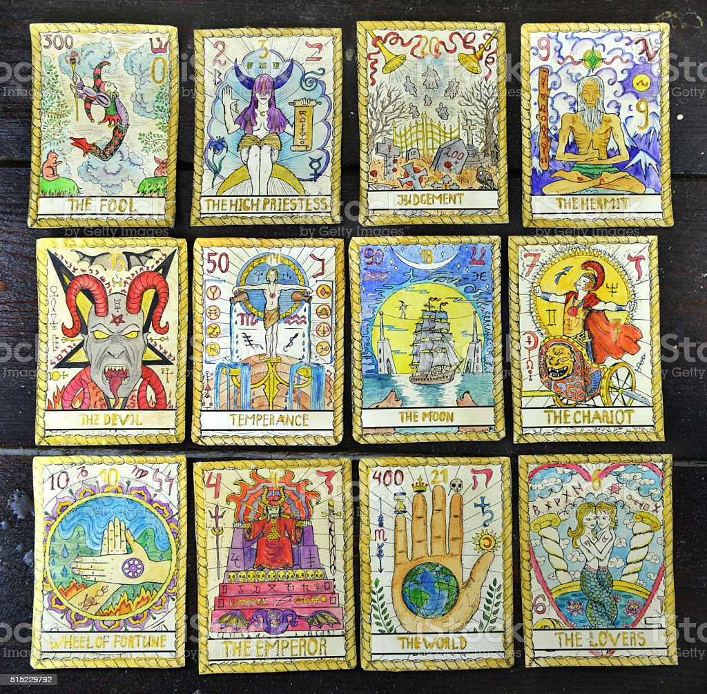 Background with old tarot cards stock photo