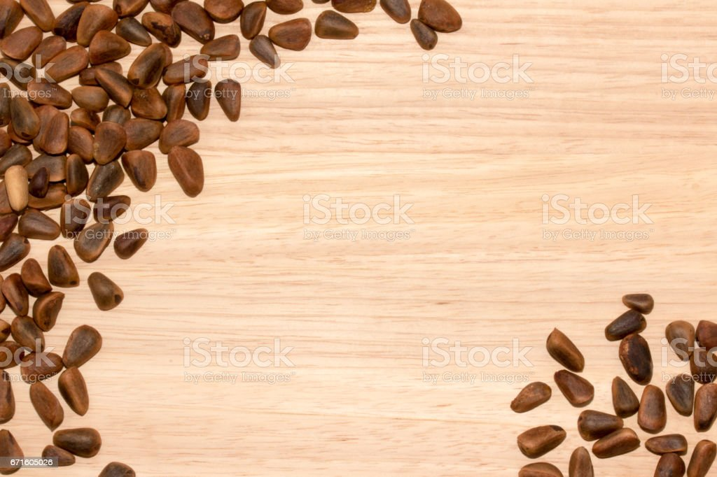 Background with pine nuts stock photo