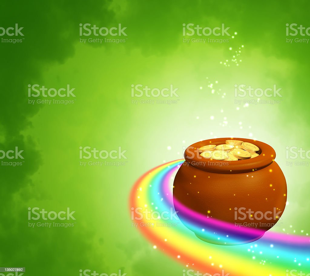 Background with rainbow and pot royalty-free stock photo