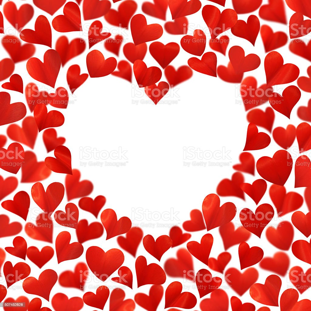 Background with red hearts in 3D, empty space for text stock photo