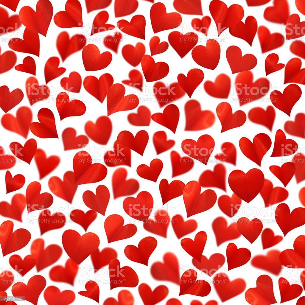 Background with red hearts in 3D,  isolated on white stock photo