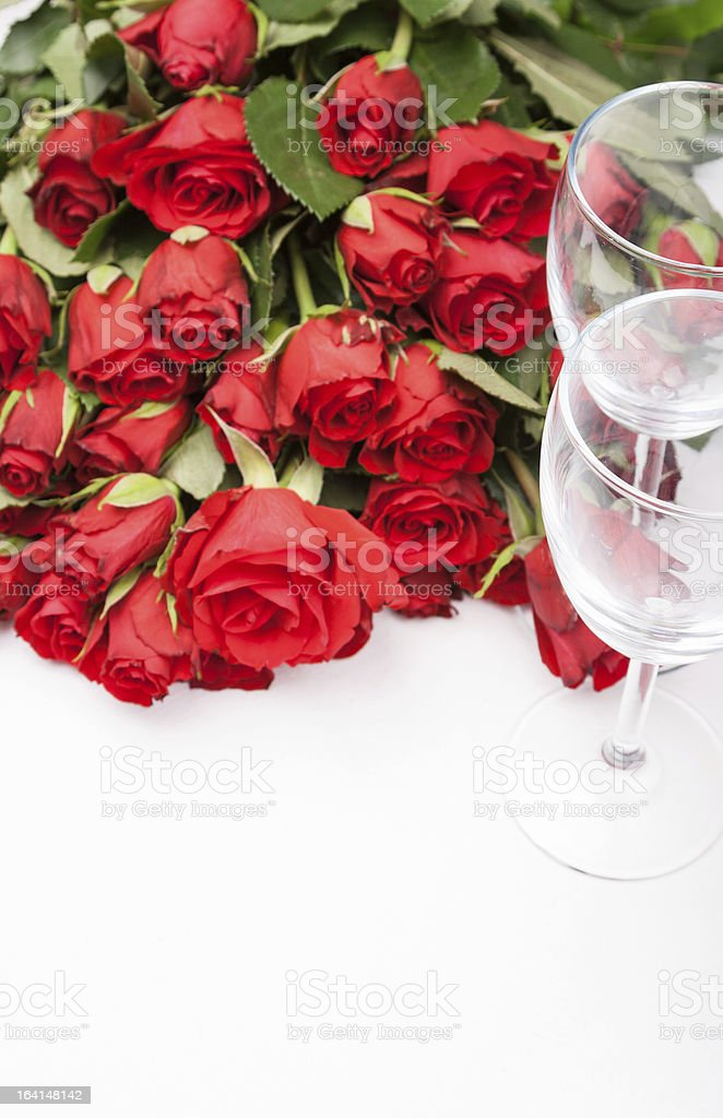 background with red roses and wine glass royalty-free stock photo