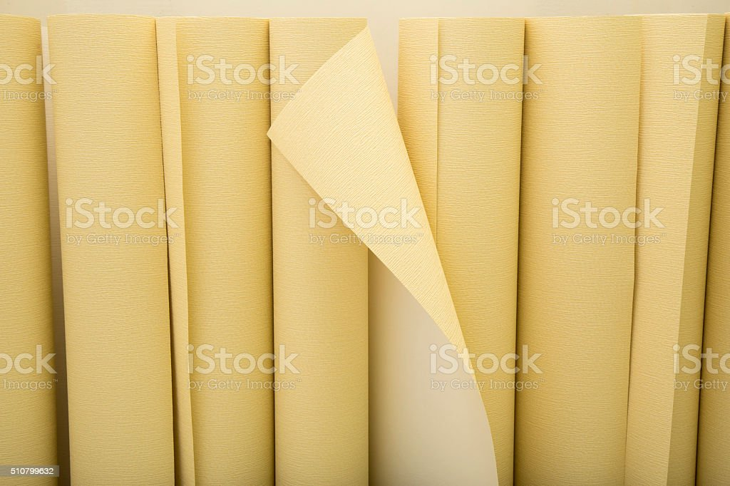 Background with rolls of wallpaper stock photo