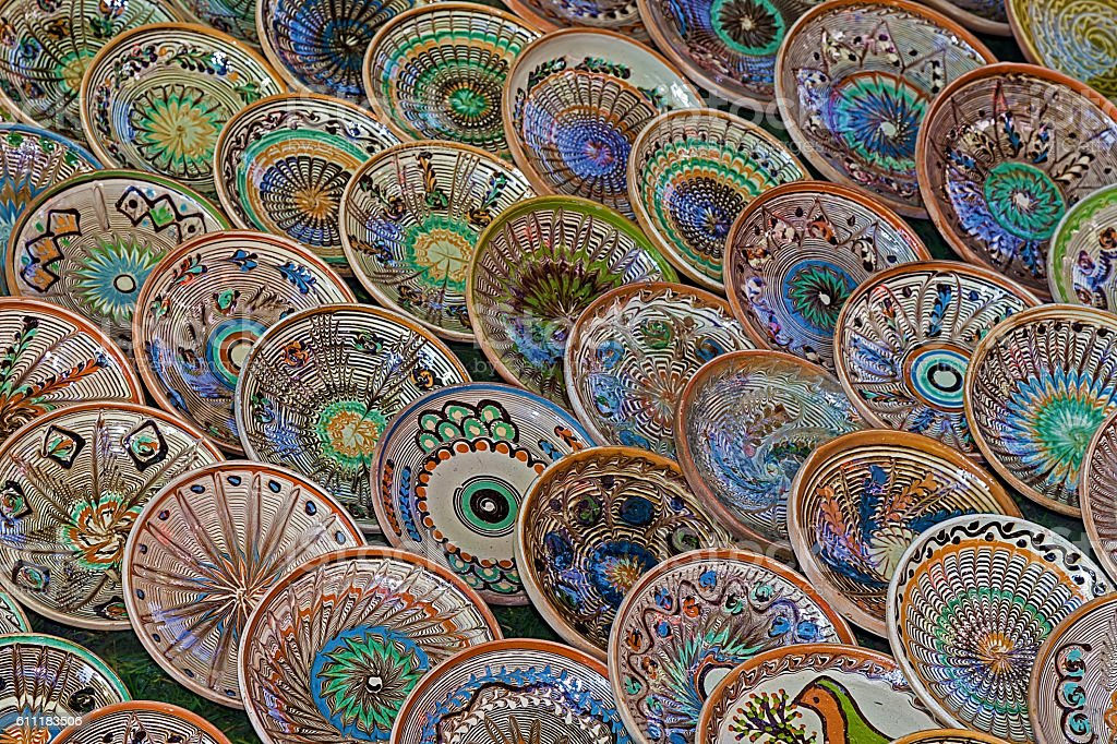 Background with Romanian traditional ceramic in the plates form stock photo