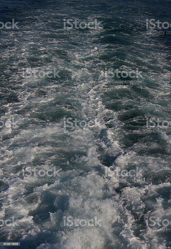 Background with sea wake jet. stock photo