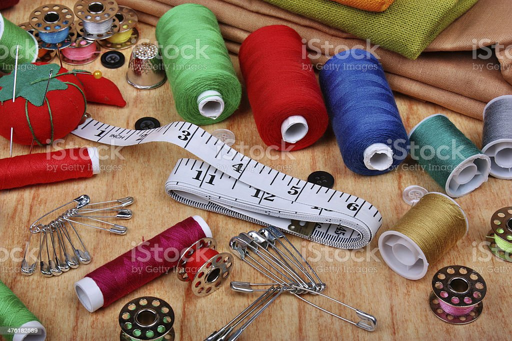 Background with sewing items royalty-free stock photo