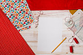 Background with sewing or knitting tools and accessories