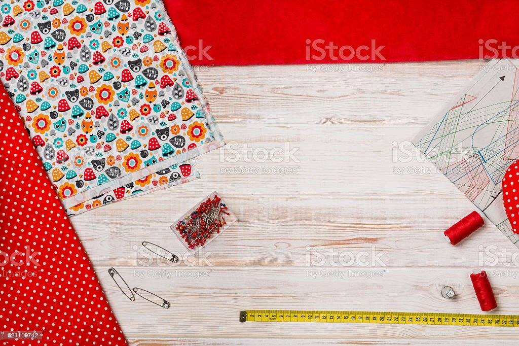 Background with sewing or knitting tools and accessories stock photo