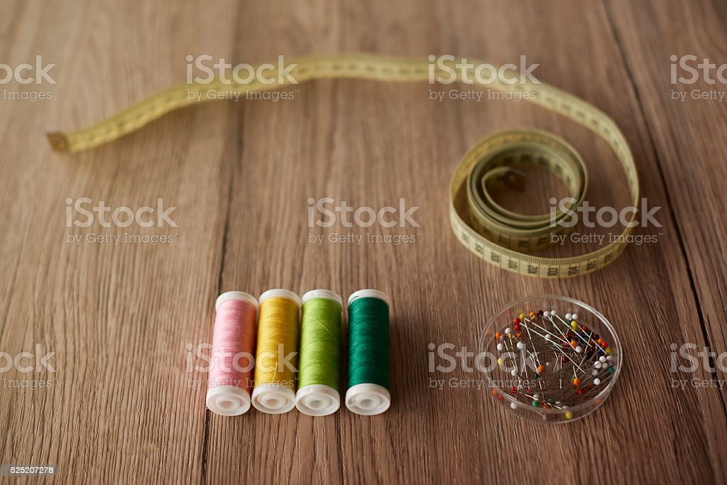 Background with some sewing items stock photo