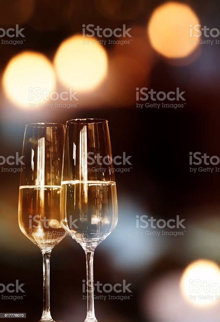 Background with two champagne glasses stock photo